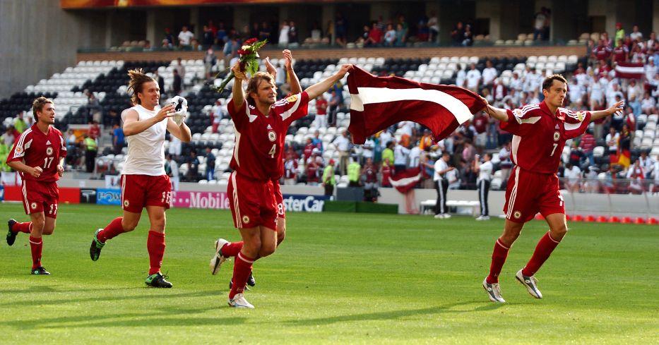 Latvia players celebrate