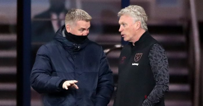 Dean Smith talks to David Moyes