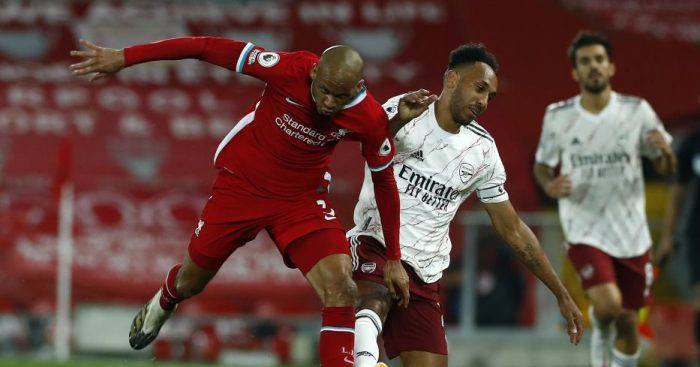 Fabinho and Pierre-Emerick Aubameyang battle for the ball