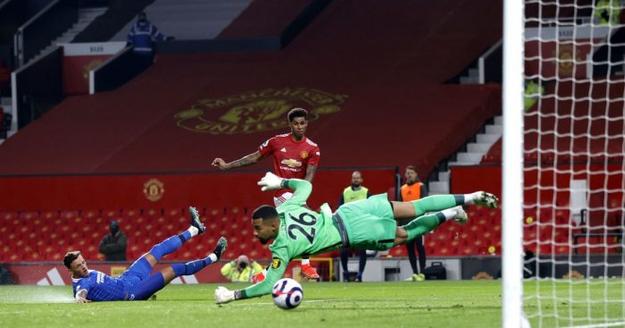 Marcus Rashford scores for Manchester United against Brighton
