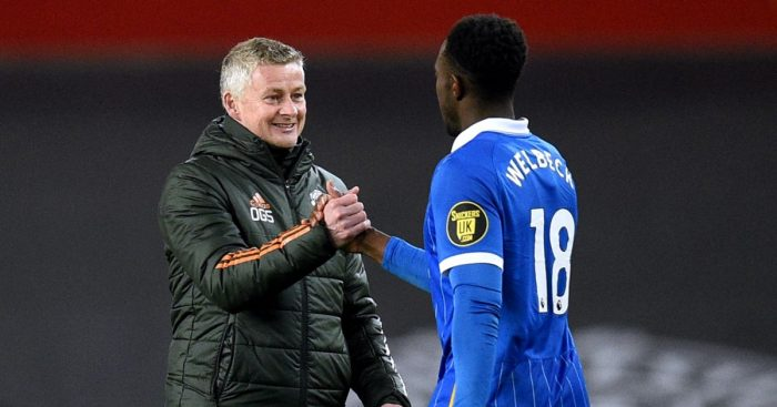 Ole Gunnar Solskjaer shakes hands with Danny Welbeck after Manchester United beat Brighton 2-1