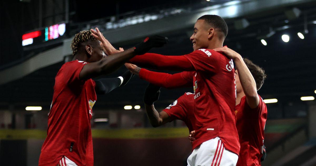 Mason Greenwood celebrates his Manchester United goal