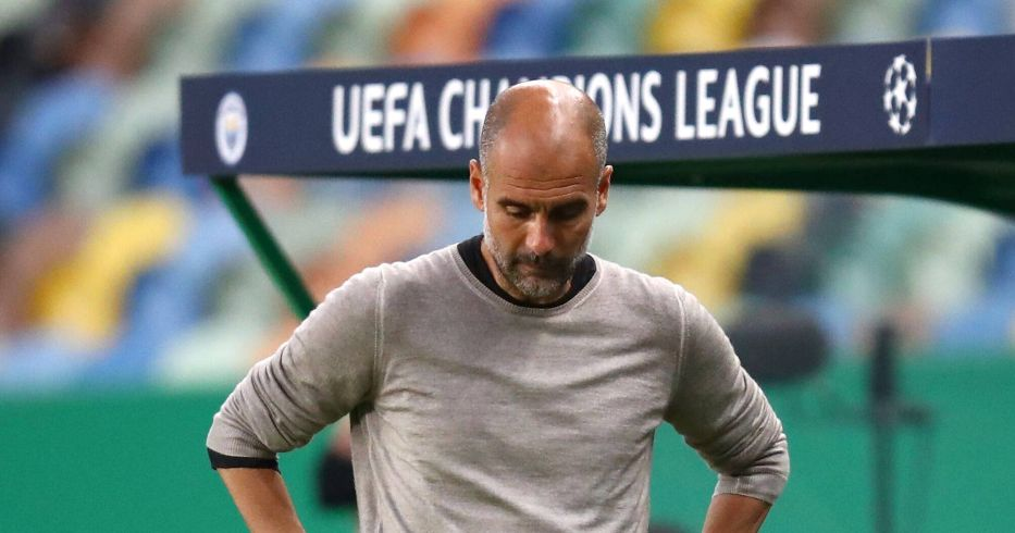 Pep Guardiola looks disappointed