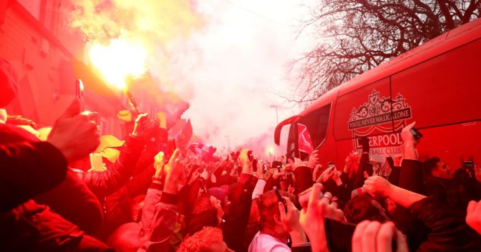 Liverpool fans set off flares