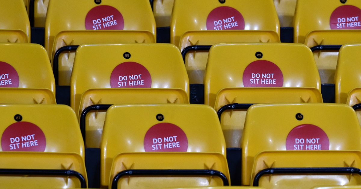 Do not sit here stickers on seating for Wolves v Everton