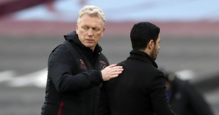 David Moyes embraces Mikel Arteta