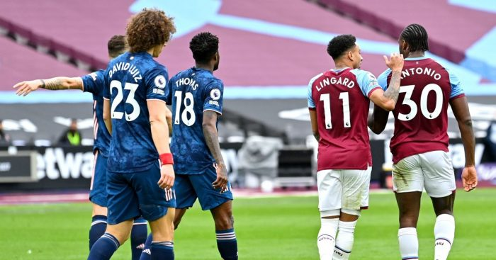 Jesse Lingard and Michail Antonio celebrate scoring against Arsenal