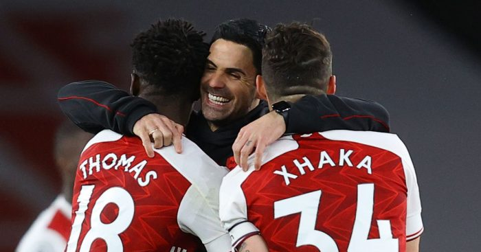 Mikel Arteta celebrates with Thomas Partey and Granit Xhaka