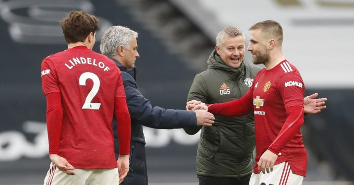 Jose Mourinho shakes hands with Luke Shaw