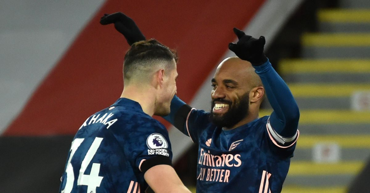 Alexandre Lacazette celebrates his Arsenal goal