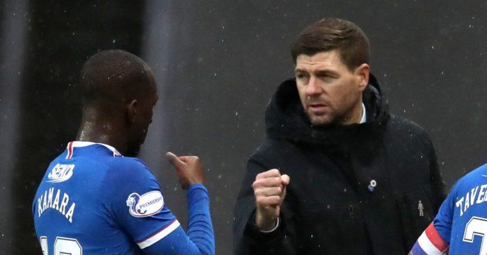 Glen Kamara fist bumps Steven Gerrard