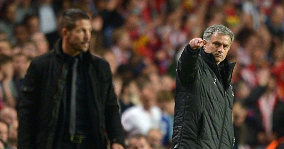 Jose Mourinho points at Diego Simeone