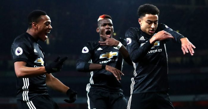 Anthony Martial, Paul Pogba and Jesse Lingard
