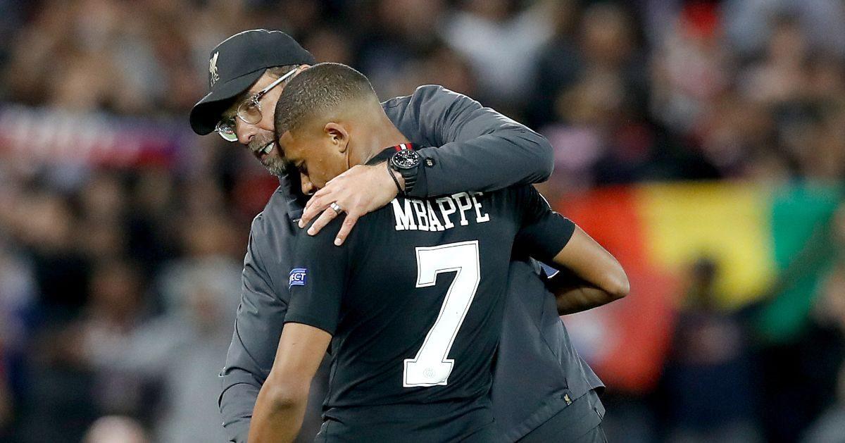 Jurgen Klopp embraces Kylian Mbappe