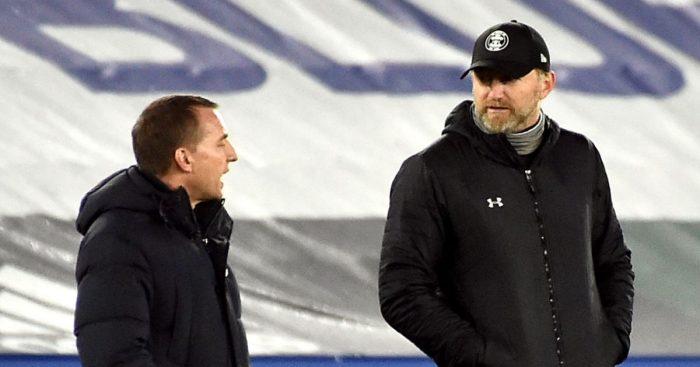 Brendan Rodgers talks to Ralph Hasenhuttl