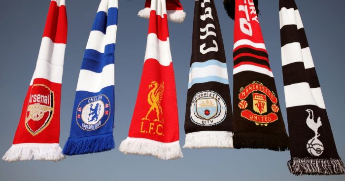 Arsenal Chelsea Liverpool Manchester City Manchester United Tottenham scarves Super League