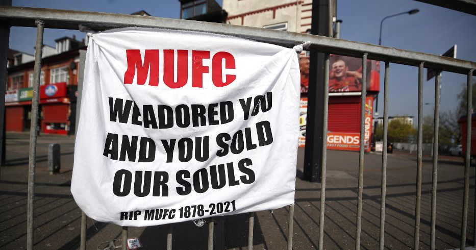 A banner left by Manchester United fans