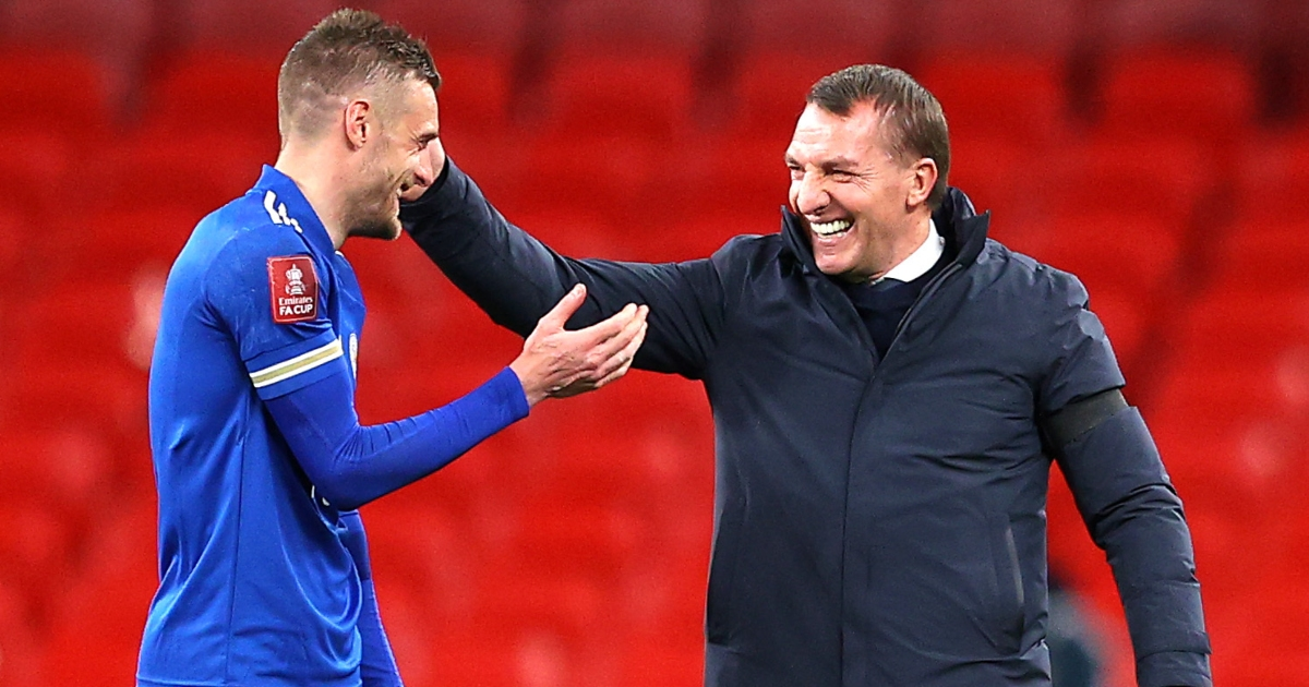Jamie Vardy celebrates with Leicester City boss Brendan Rodgers