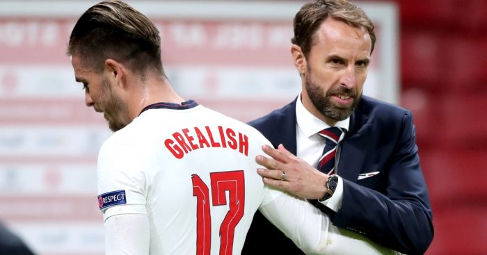 Jack Grealish with Gareth Southgate
