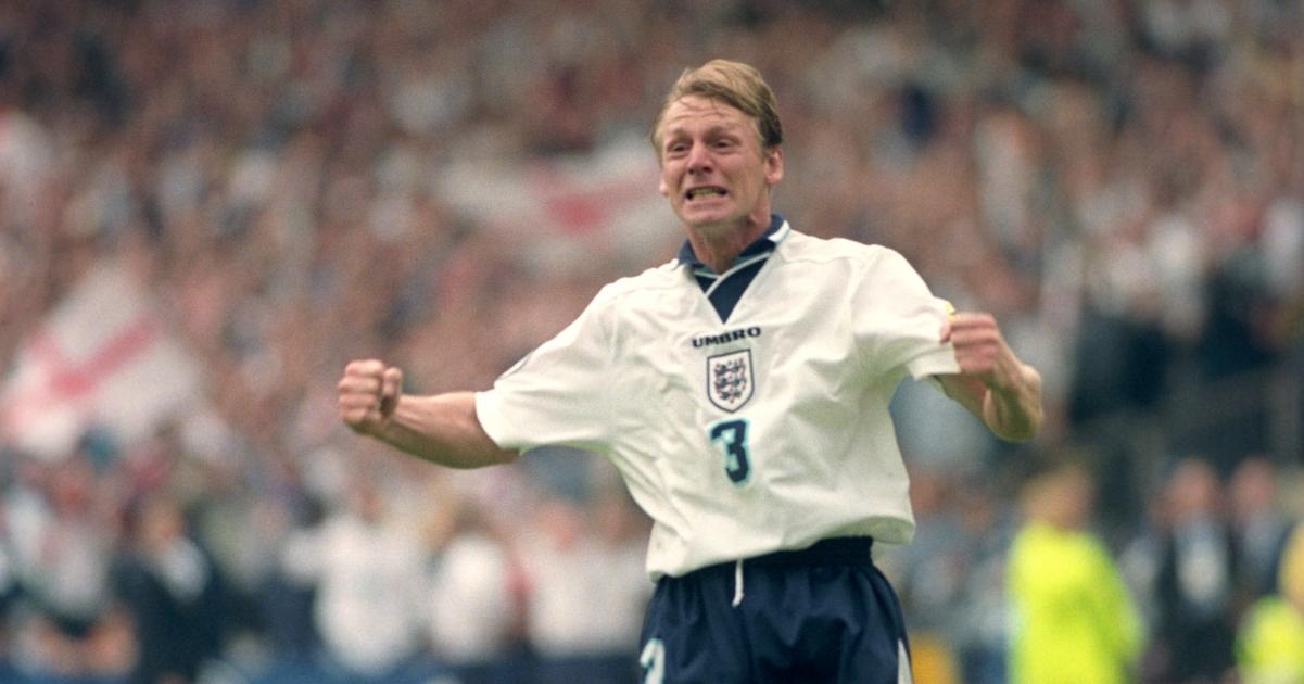 Stuart Pearce celebrates at Euro 96