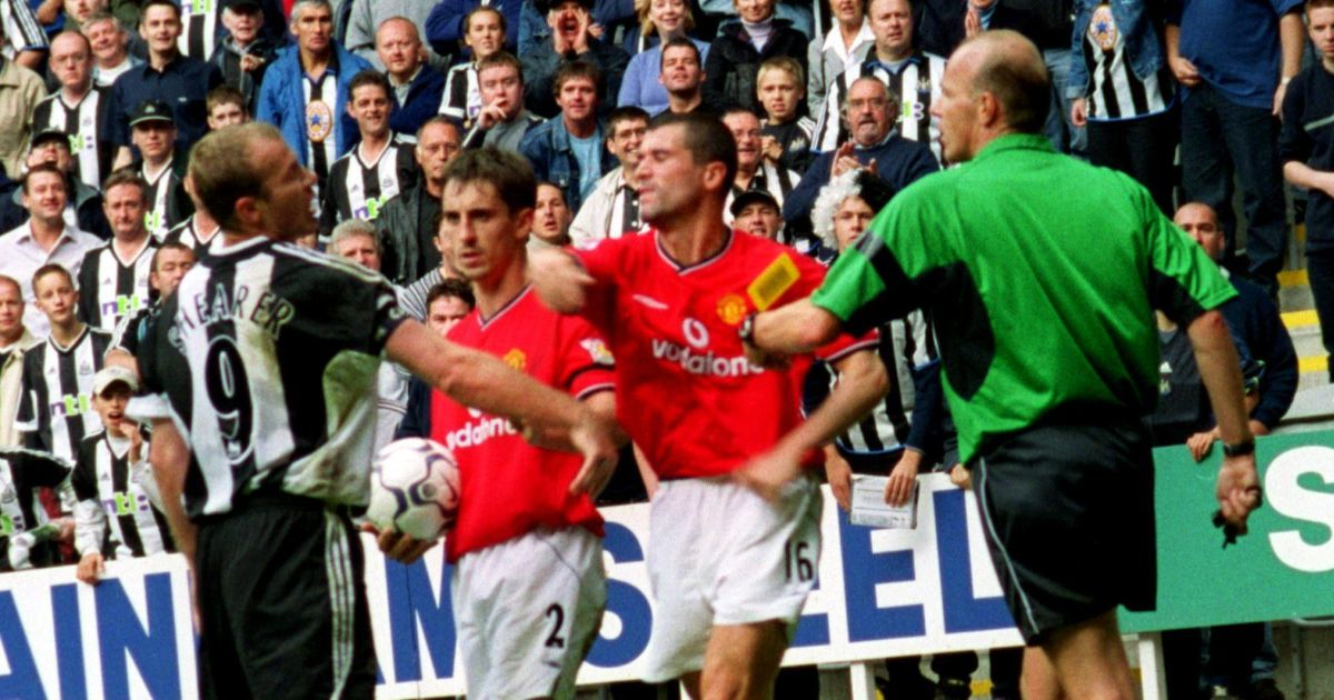 Roy Keane throws a punch at Newcastle's Alan Shearer