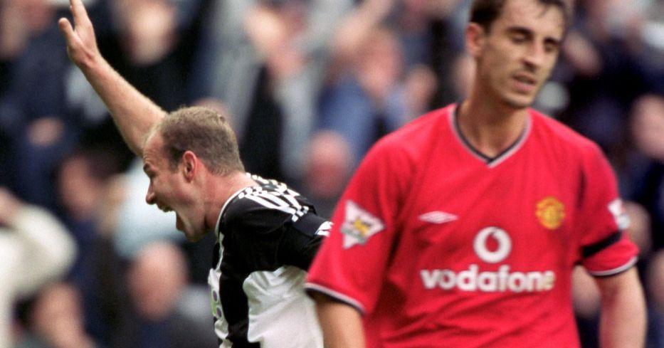 Alan Shearer celebrates scoring
