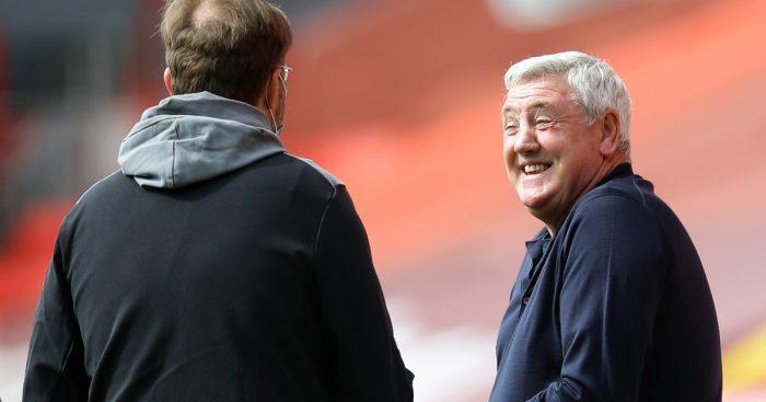 Newcastle boss Steve Bruce shares a joke with Jurgen Klopp