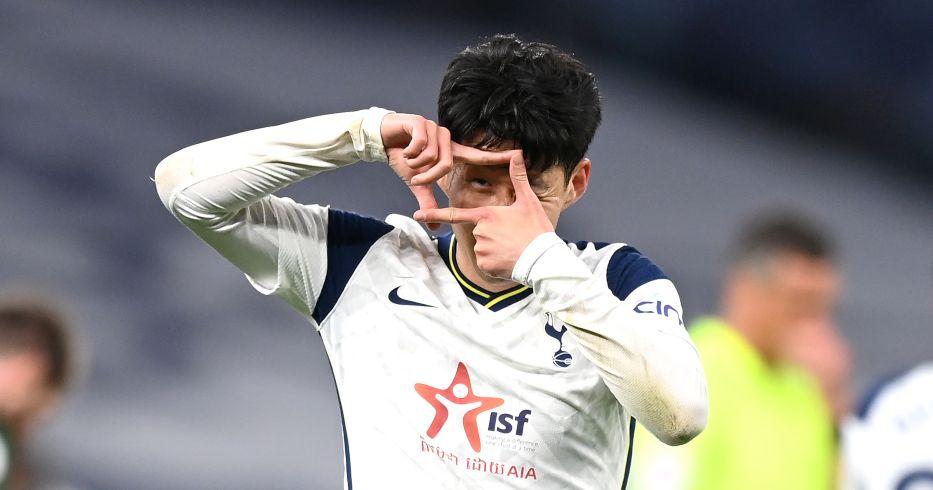 Heung-min Son celebrates scoring