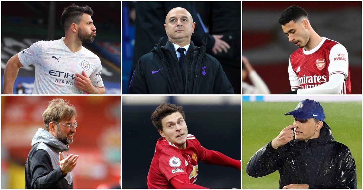 Sergio Aguero, Daniel Levy, Gabriel Martinelli, Liverpool's Jurgen Klopp, Victor Lindelof and Thomas Tuchel
