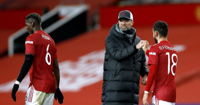 Paul Pogba, Jurgen Klopp and Bruno Fernandes