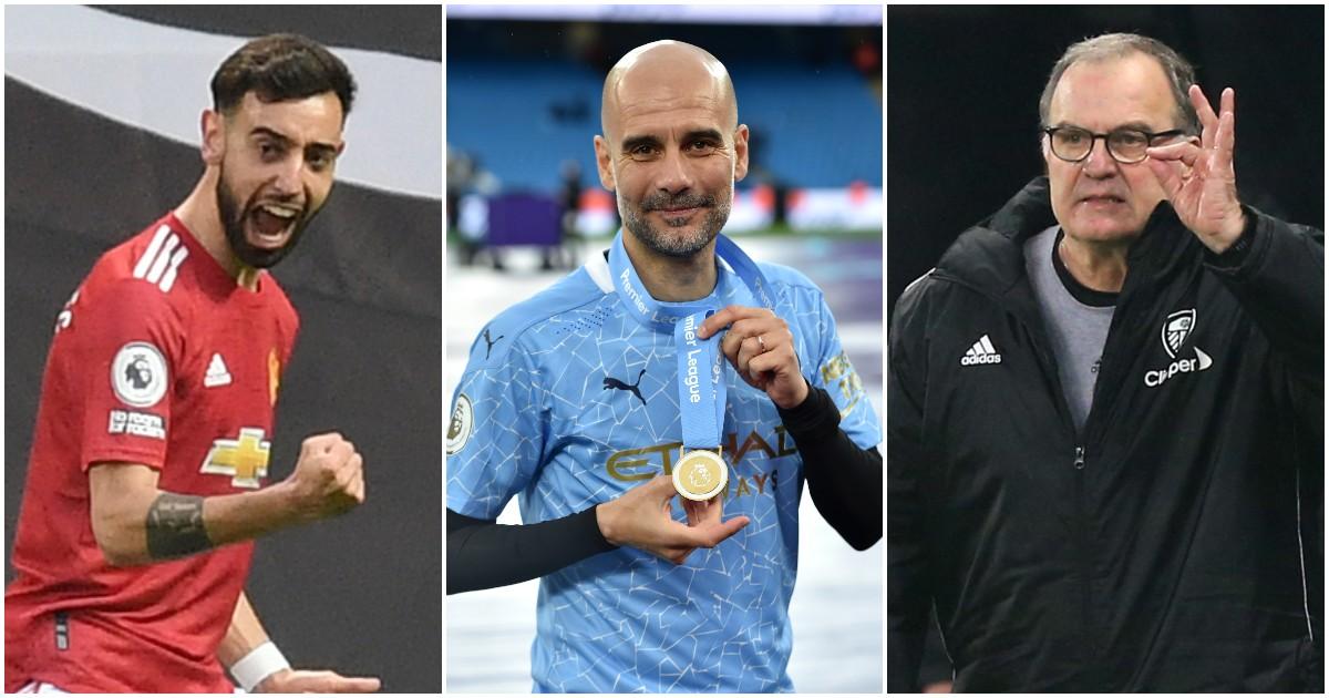 Bruno Fernandes, Pep Guardiola and Marcelo Bielsa