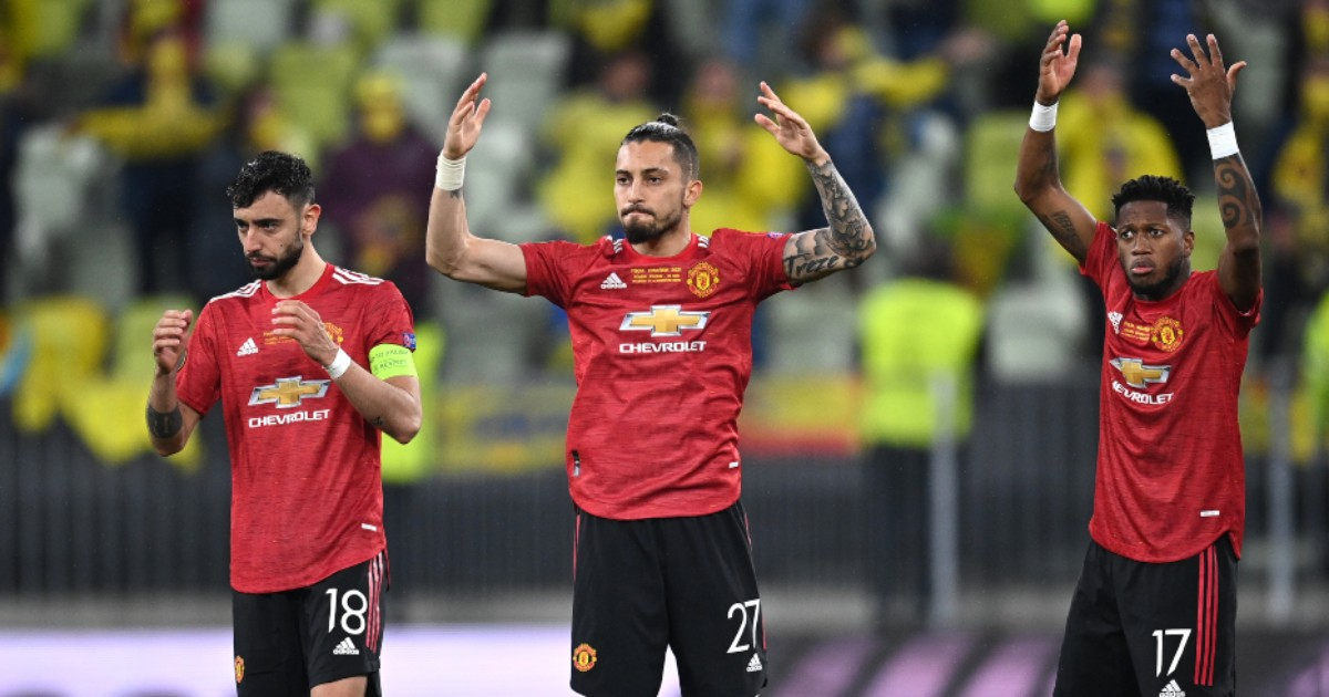 Manchester United players Bruno Fernandes, Alex Telles and Fred