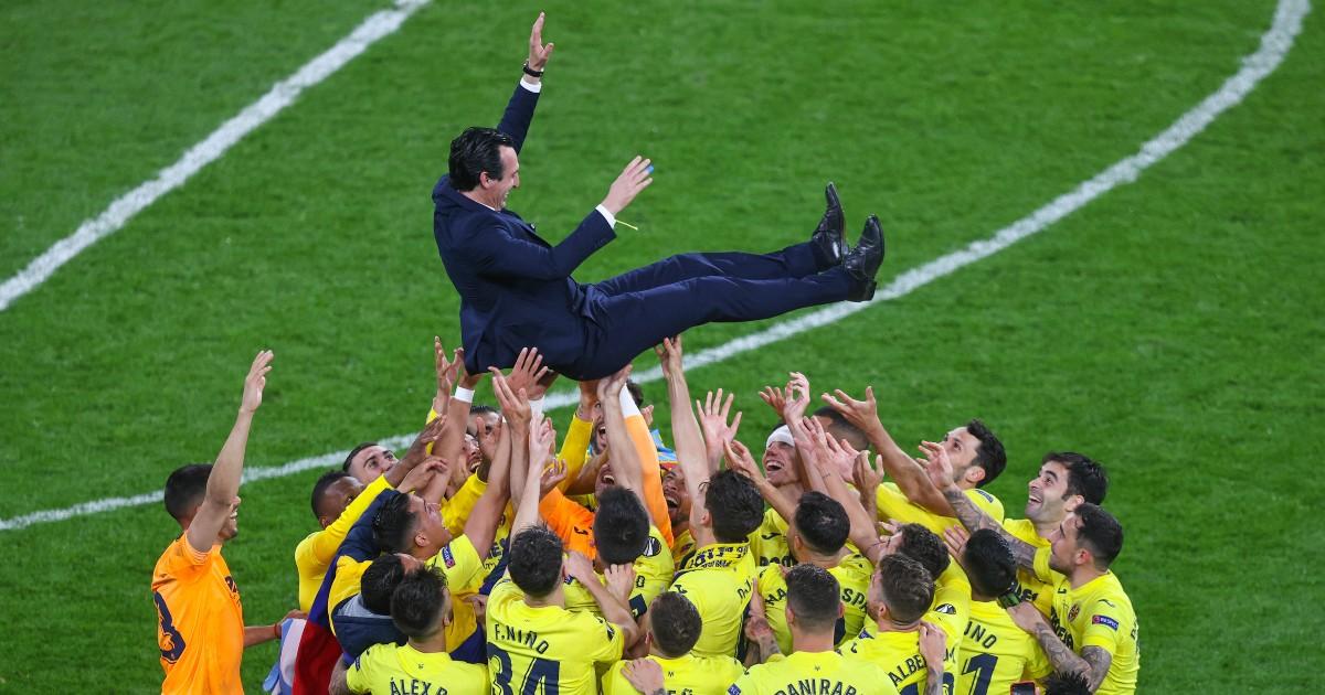Villarreal players celebrate