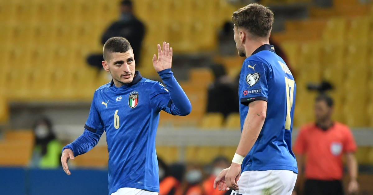 Marco Verratti talks to Ciro Immobile