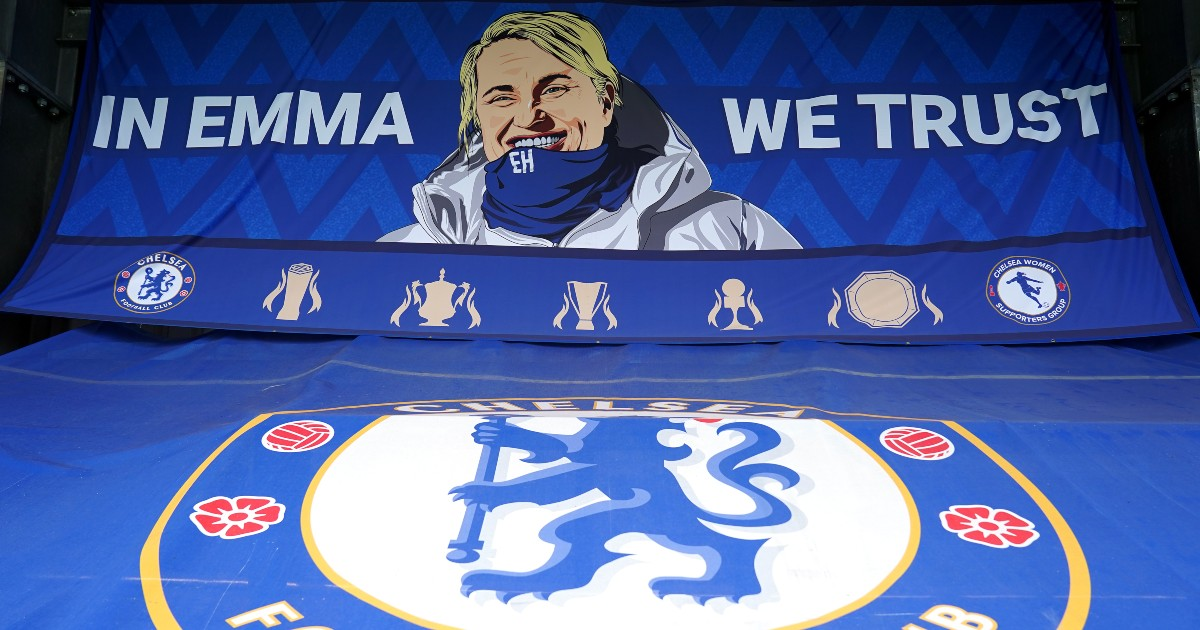 A banner in support of Emma Hayes