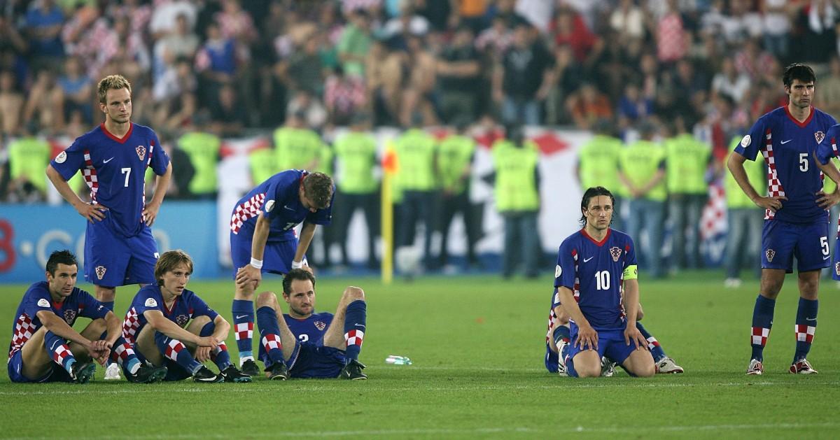 I giocatori della Croazia guardano i calci di rigore