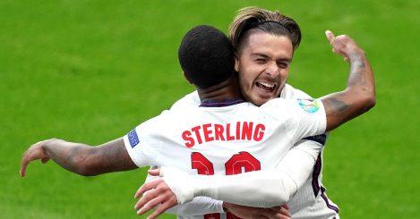 Raheem Sterling celebrates with Jack Grealish