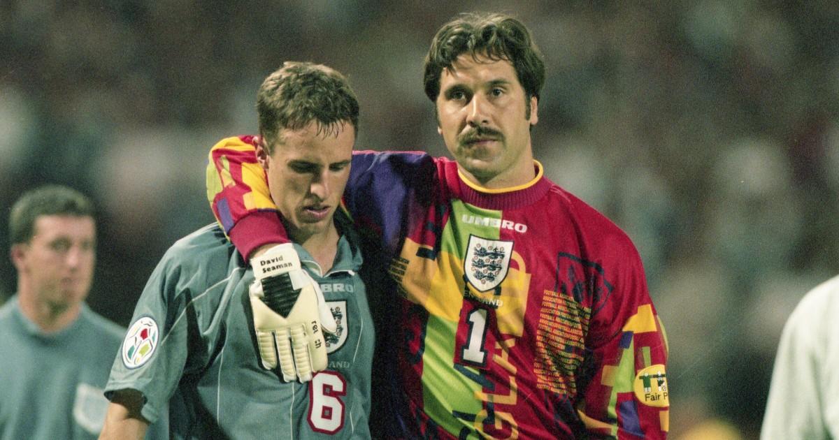 Gareth Southgate is consoled by David Seaman