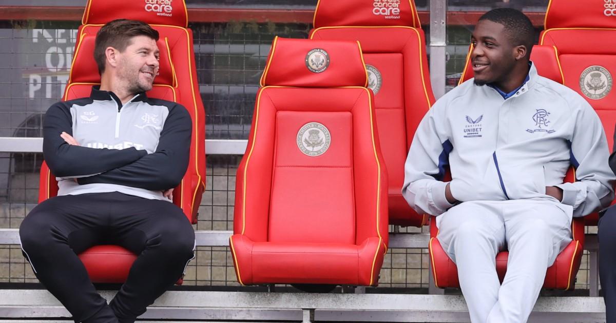 Steven Gerrard and Nnamdi Ofoborh