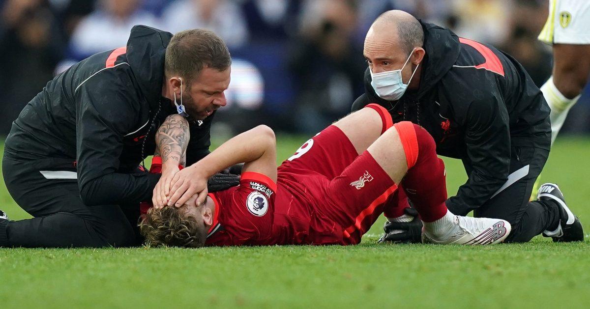 Harvey Elliott injured during Liverpool win at Leeds
