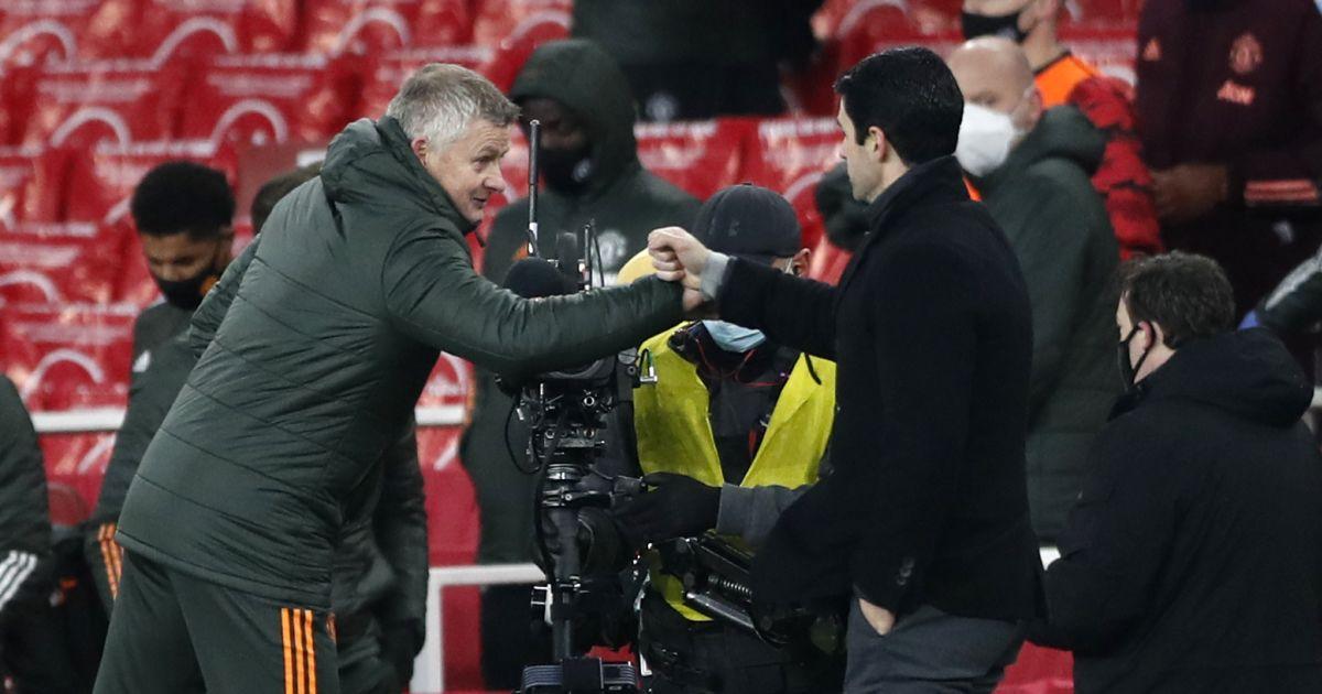 Ole Gunnar Solskjaer and Mikel Arteta fist bump after a Premier League game