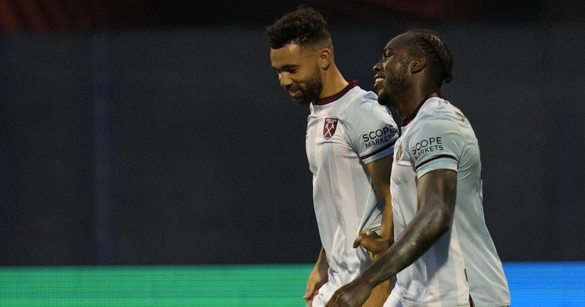 Michail Antonio celebrates his goal for West Ham against Dinamo Zagreb