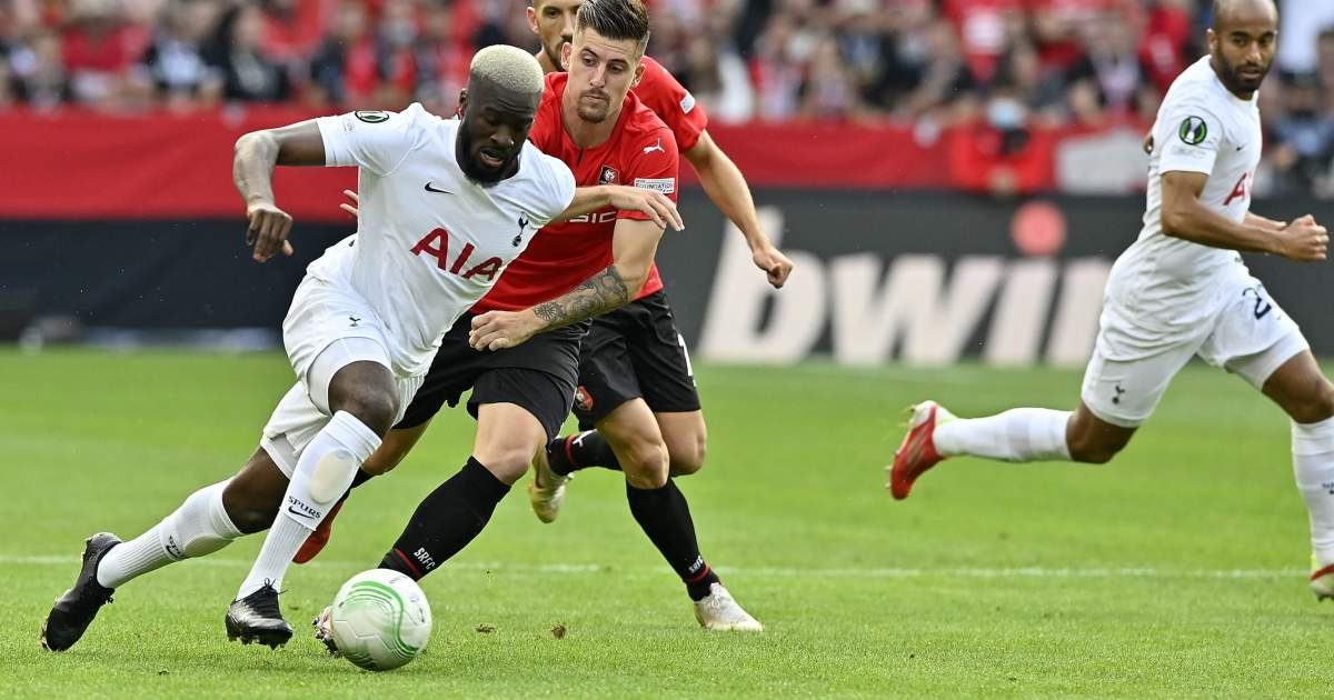 Tanguy Ndombele in action for Spurs against Rennes