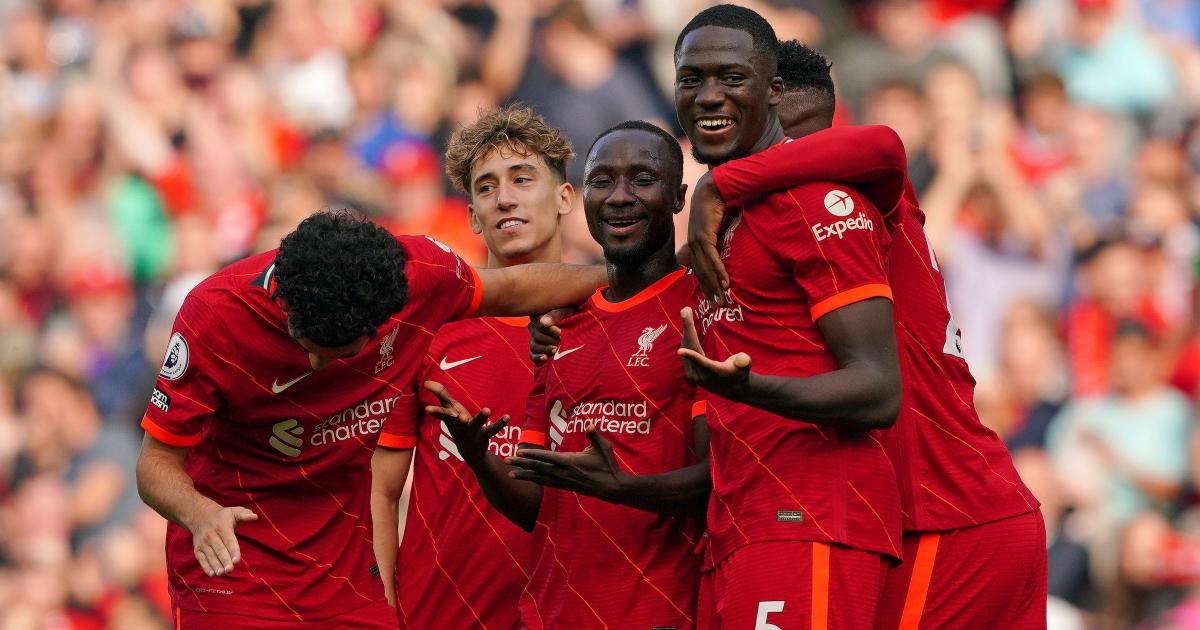 Liverpool celebrate Naby Keita goal versus Crystal Palace