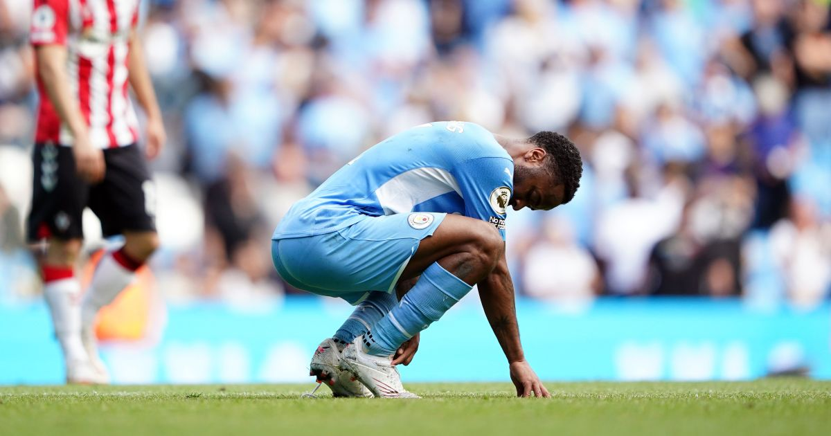 Raheem Sterling of Manchester City shows his disappointment against Southampton
