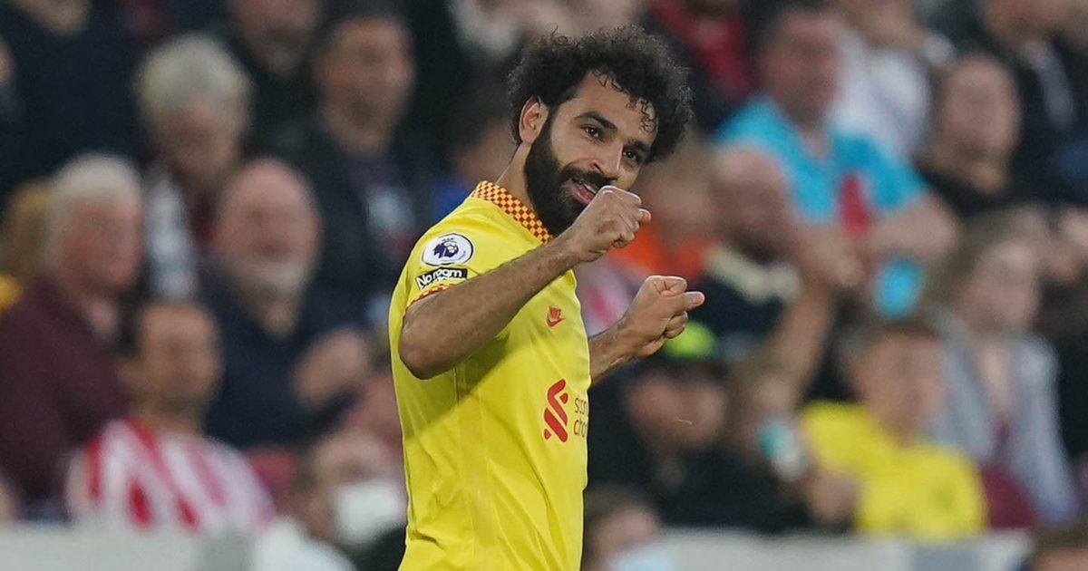 Mo Salah scores for Liverpool v Brentford