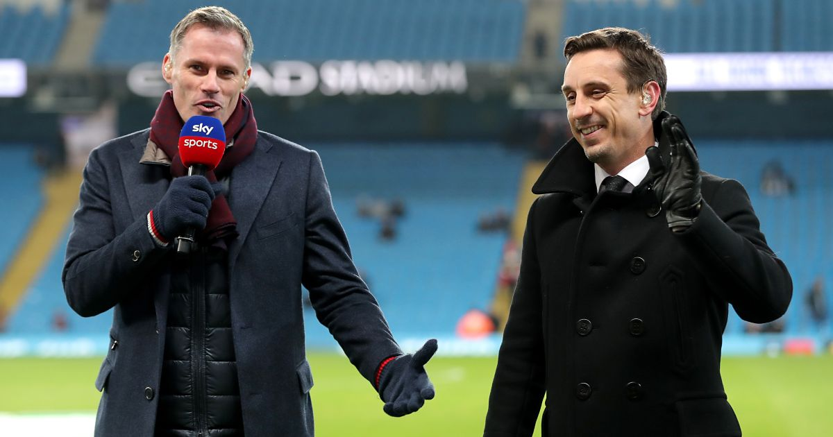 Jamie Carragher and former Man Utd defender Gary Neville share a laugh