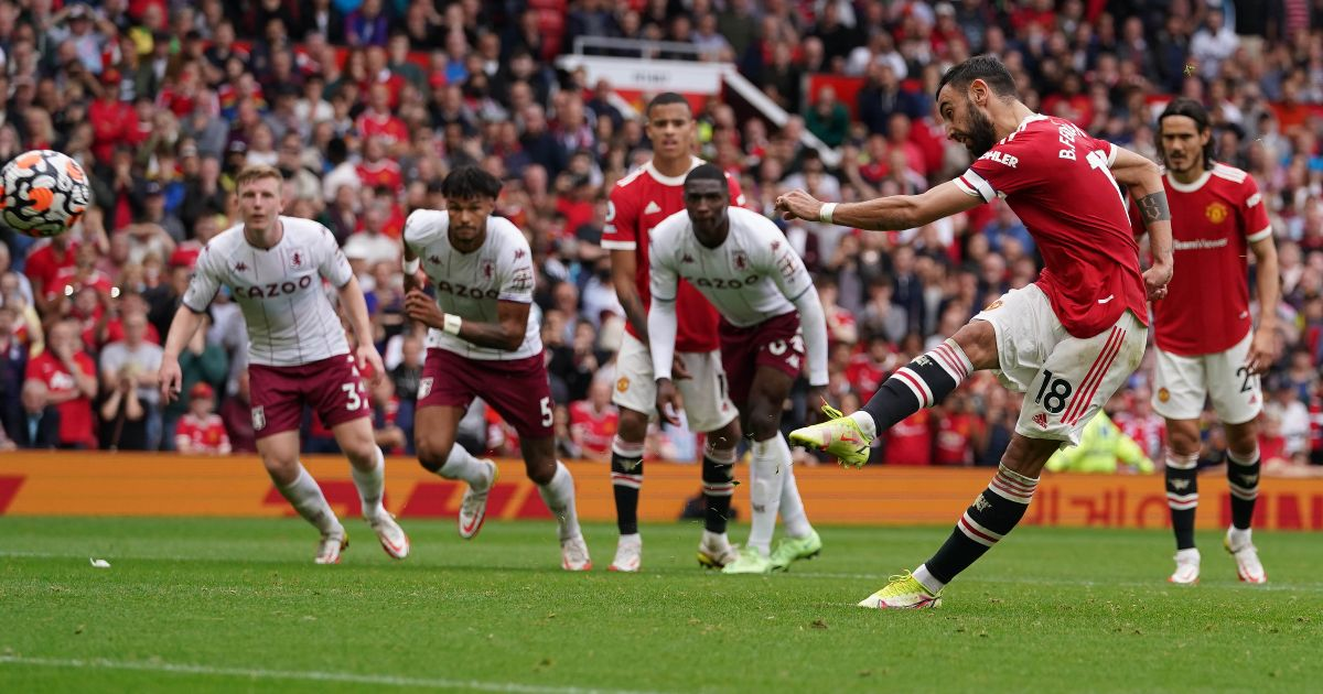 Man Utd playmaker Bruno Fernandes misses a penalty kick
