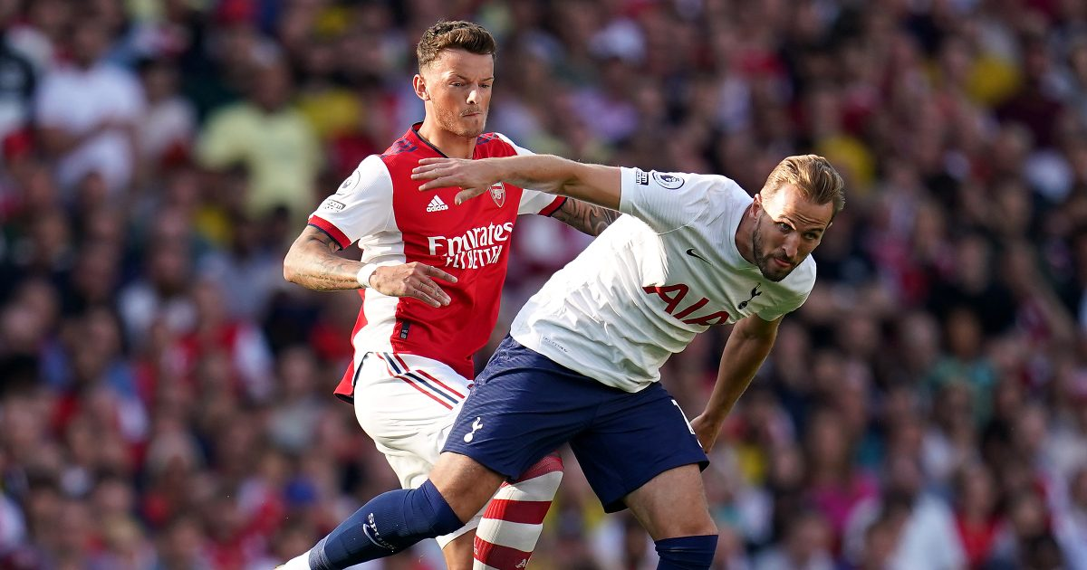 Harry Kane challenged by Ben White