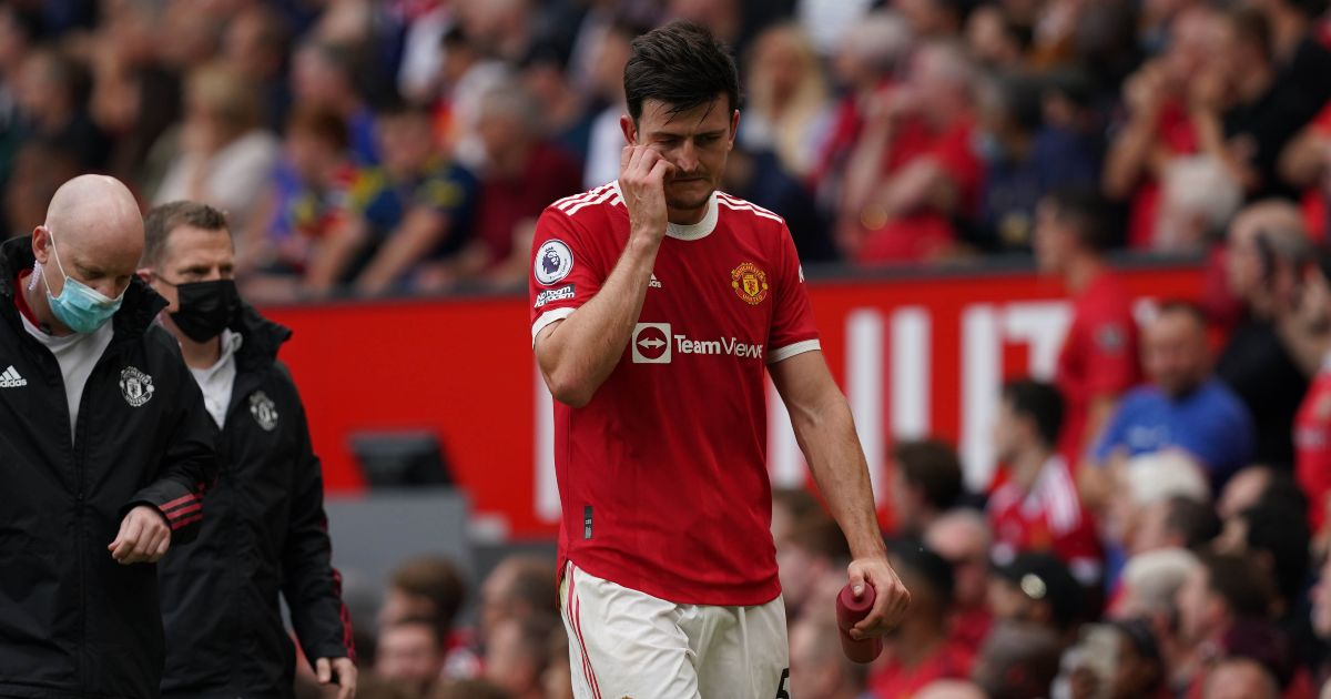Harry Maguire leaves the pitch because of injury